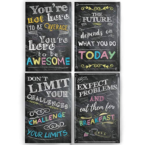 Motivational Inspirational Wall Art Classroom Posters Decorations  Multicolor Chalkboard Positive Quotes, Perfect for Office, Kids Room or Bathroom Art. Great Thanksgiving Gifts. Set of 4 11x17