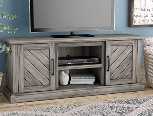 Etha- Tv Stand for 60 Inch Tv-Display Your Tv in Style-Color Gray Wood Enclosed Storage