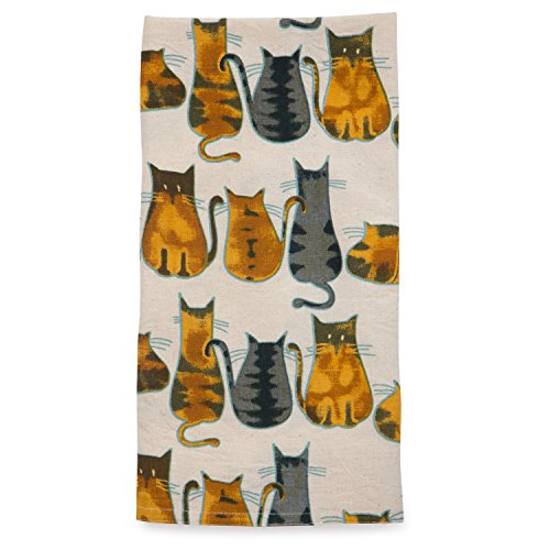 - Ten Thousand Villages Cream and Orange Rectangular Cotton Tea Towel 'Cats About It Tea Towel'