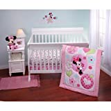 3pc Baby Girl Disney Pink Minnie Mouse Heart Love Crib Bedding Set