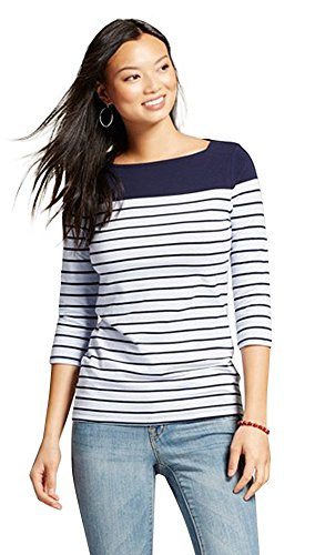 Classic Women's Boatneck Top | Imported | Slimming Fit Fabric | Timeless Design | Perfect for Layering (Medium, Dark Blue with Light Blue (Boatneck Top)