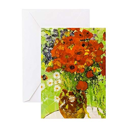 CafePress Van Gogh Red Poppies Daisies Greeting Cards Greeting Card, Note Card, Birthday Card, Blank Inside Glossy