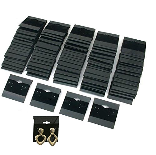 - 1 X Earring Display Hang Cards Black Flocked 2 X 2 Inch (100 Cards)