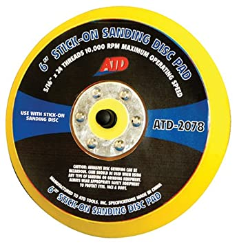 "ATD Tools 2078 6"" Stick-on Sanding Disc Pad"