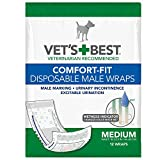 Vet's Best Comfort Fit Disposable Male Dog Diapers | Absorbent Male Wraps with Leak Proof Fit | Medium, 12 Count
