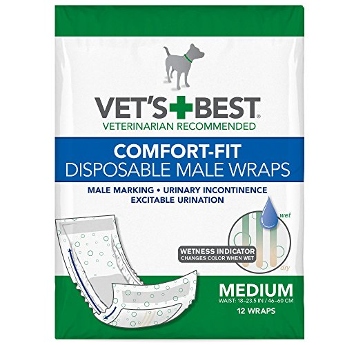 Vets Best Comfort Fit Disposable Male Dog Diapers with Wetness Indicator,...