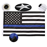 Thin Blue Line Flag 3x5 Ft Embroidered Stars Sewn Stripes Black White and Blue American Police Flag For Law Enforcement Officers