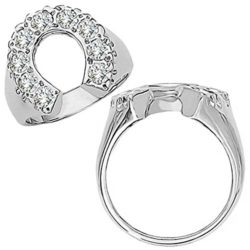 Ladies Horseshoe Diamond Ring (1.75 Carat G-H Diamond Fancy Designer Horse shoe Mens Man Horse Novelty Ring 14K White Gold)