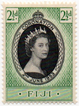 Fiji Postage Stamp Single 1953 Queen Elizabeth II Coronation Issue 2 1/2 d Scott #145