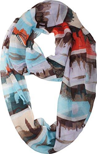 Vivian & Vincent Soft Light Elegant World City Panorama Sheer Infinity Scarf Aqua