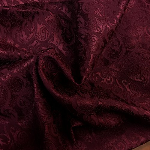 Burgundy Hearts and Torns Design Jacquard Brocade Cotton Poly Fabric Sold by The Yard (Brocade Poly)
