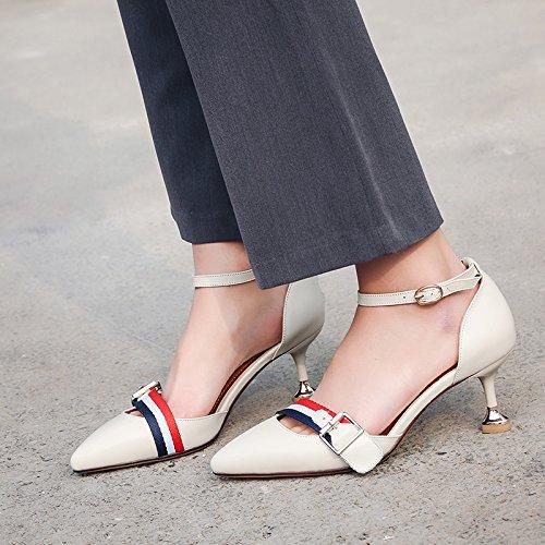 Alto Mujer De Tacón Hebilla Zapatos De Salvajes Alto Primavera Alto Tacón Zapatos VIVIOO Sandalias De Mujer De De Mujer De Zapatos Aguja Sandalias De Zapatos De Tacón De De White Femenina De Tacón Primavera wqSvFZ