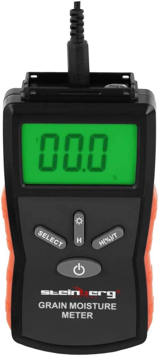 Pantalla LCD, Temperatura de -10 a 60 /°C, 2-30/% de humedad Steinberg Systems Aparato Medidor De Humedad Sonda Para Cereales SBS-GFM-230