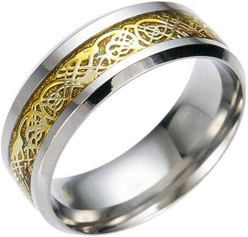 Gplden Lank Dragon Pattern Band Ring Men Stainless Steel Titanium Gold Silver Black Ring for Men Wedding Band