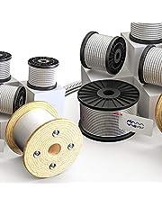 DQ-PP Staalkabel, 1 mm, 50 m, roestvrij staal, INOX 7 x 7 middelzacht, draadkabel voor klimhulp, roestvrije touw, staaldraad, bostouw, lier spantouw, spantouw, relingstouw