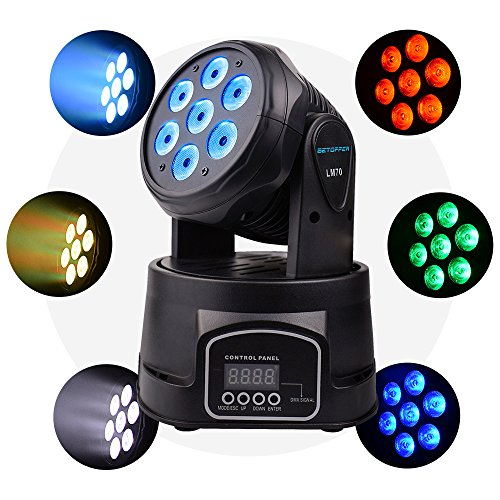 Betopper LED Spot Stage Light DMX 512 Professional Mini Moving Head Lighting 4 in 1 RGBW Par Auto/Sound Activated/Master-Slave Strobe Effect 100W 9/14 Channels for Restaurant,Club,Wedding,Home Party