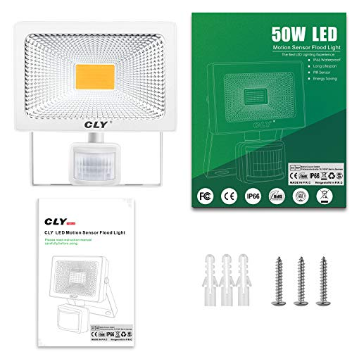 Jard/ín, Garaje,PatioCamino, Escalera etc. CLY 30W Foco LED Proyector,3000 L/úmenes de focos LED Exterior,IP66 LED Exterior con Sensor de Movimiento Blanco c/álido 3000K para Exterior Iluminaci/ón