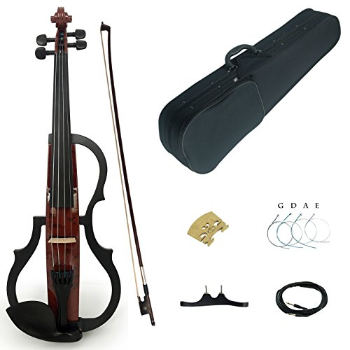 Kinglos 4/4 Brown Colored Solid Wood Advanced 3-Band-EQ Electric / Silent Violin Kit with Ebony Fittings Full Size (SDDS1601) by Kinglos