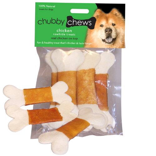 Chubby Chews Premium Rawhide Chews Wrapped with Real Chicken, 4-1/2-Inch Bone Chip, 4-Piece Per Bag, My Pet Supplies