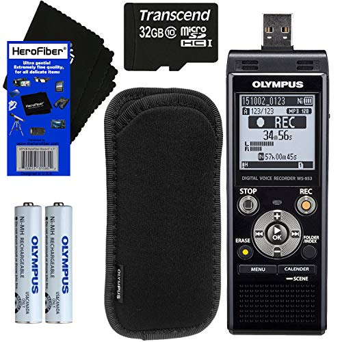 Olympus Protective Case - Olympus WS-853 Digital Voice Recorder (Black) with Direct USB + 32GB MicroSD Memory Card + Protective Case + AAA Rechargeable Batteries + HeroFiber Ultra Gentle Cleaning Cloth