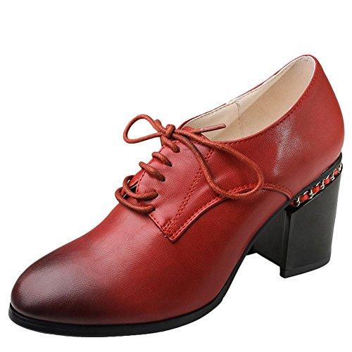 Schouder Dames Lace Up Mode Vintage Comfort Mid Heel Oxfords Schoenen Rood