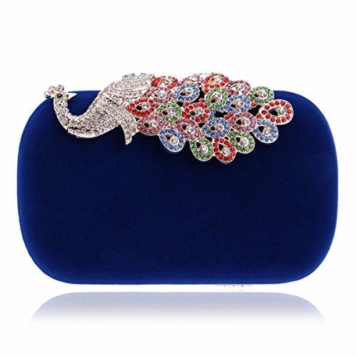 "XJTNLB Diamond Dîner Sac, Occident Fashion Mesdames""Sac De Soirée Banquet, Peacock,Black Blue"