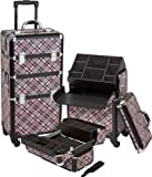 Seya Pro Aluminum Cosmetic Makeup Case 4 Wheeled Spinner w/ Nail Polish Holder Insert and Adjustable Dividers (Pink Checker)