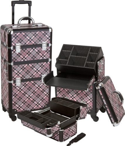 Seya Pro Aluminum Cosmetic Makeup Case 4 Wheeled Spinner w/ Nail Polish Holder Insert and Adjustable Dividers (Pink Checker) by Seya