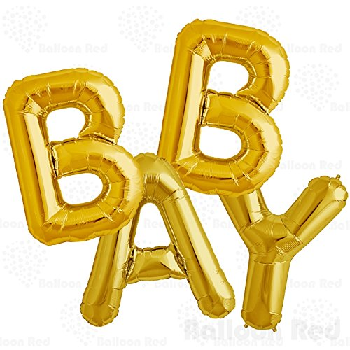 40 Inch Jumbo Helium Foil Mylar Balloons Bouquet (Premium Quality), Matte Gold, Letters BABY