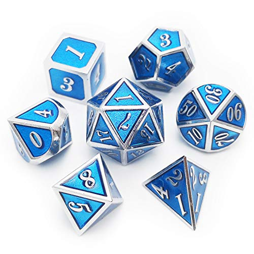 Haxtec Metal Dice Set D&D 7 Die Metal DND Dice Set for Dungeons and Dragons RPG Table Games-Glossy Enamel Dice (Silver Tiffany Blue)