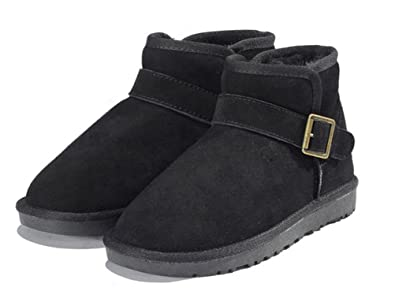 Snow boots for men winter leather shoes tube flat cotton short boots