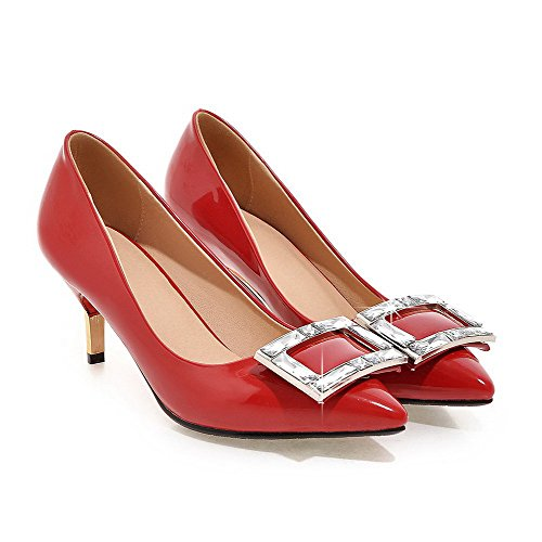 VogueZone009 Damen Lackleder Spitz Zehe Hoher Absatz Ziehen auf Eingelegt Pumps Schuhe Rot