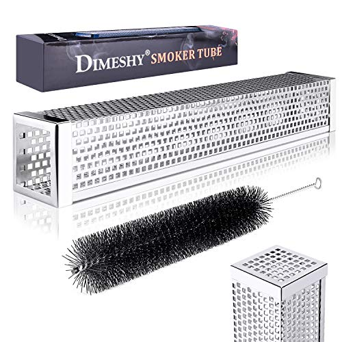 DIMESHY Pellet Smoker Tube - 12' 304 Stainless Steel for Cold or Hot Smoking Wood Pellet Tube Smoker, Work with All Grills or Smokers, Bonus Storage Bag Include, Square
