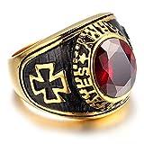 HIJONES-Mens-Jewelry-Stainless-Steel-Red-Ruby-Cross-Ring