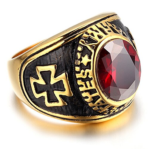 HIJONES-Mens-Jewelry-Stainless-Steel-Red-Ruby-Cross-Ring