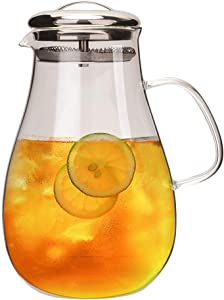 IDEALUX 60 Ounces Glass Pitcher with Stainless Steel Lid, Heat Resistant Borosilicate Water Carafe Glass Pitcher for Hot/Cold Water, Ice Tea and Juice Beverage Jug