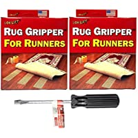 Optimum Technologies Lok Lift Rug Gripper for Runners, 4-Inch by 25-Feet (2 PACK + PLEXTOOL SCREWDRIVER BUNDLE)