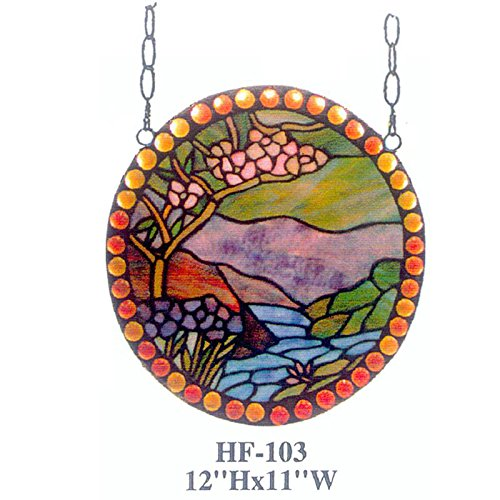 (HDO Glass Panels HF-103 Rural Vintage Tiffany Style Stained Church Art Glass Decorative Luxury Landscape Painting with Orange Beads Oval Window Hanging Glass Panel Suncatcher, 12
