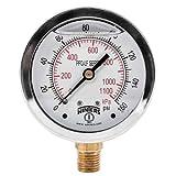 """Winters PFQ805LF PFQ-LF Series Pressure Gauge, 2.5"""" Dial size, 1/4"""" NPT, 0/160 psi/kpa, Glycerin Filled"""