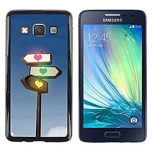 Paccase / SLIM PC / Aliminium Casa Carcasa Funda Case Cover - Traffic light heart - Samsung Galaxy A3 SM-A300