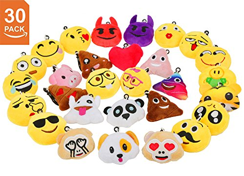 (Niviy Decorations Emoji Stuff Mini Plush Pillows Keychain Cute Emoji Faces, Kids Keychain/Backpack Decorations, Great Party Favors, Pack of 30(2 inch))