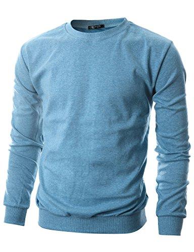 Crew Lightweight Sweatshirt (GIVON Mens Slim Fit Lightweight Crew Neck Sweatshirt/DCS005-SKYBLUE-2XL)