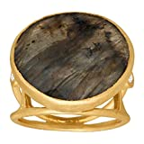 Piara 9 3/4 ct Natural Labradorite Ring with Diamond Accents in 18K Gold-Plated Sterling Silver