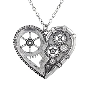 Lux Accessories Burnished Vintage Steampunk Gearwork Heart Charm Necklace