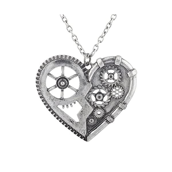 Lux Accessories Burnish Silver Vintage Steampunk Gearwork Heart Charm Necklace 3