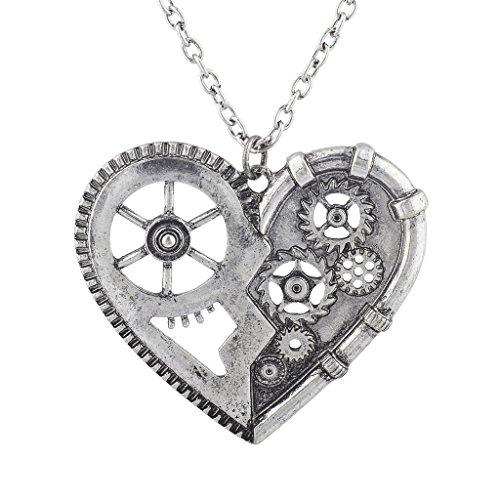 Lux Accessories Burnish Silver Vintage Steampunk Gearwork Heart Charm Necklace
