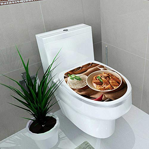 (Toilet Sticker Tasty Dinner Chicken Curry in Plate on Tray Home Decor Applique Papers W14 x L14)