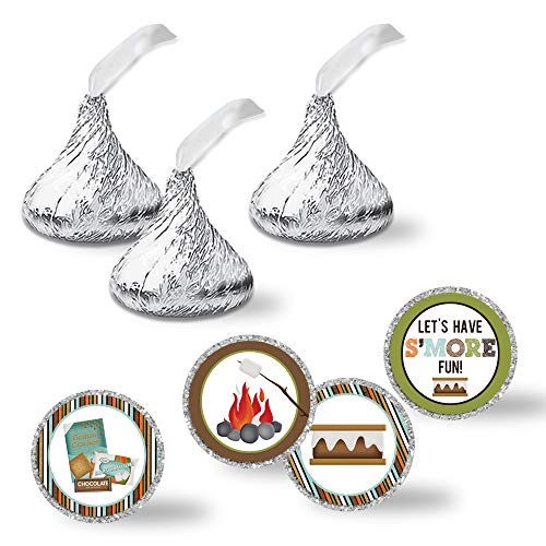 S'More Fun With Friends S'Mores Themed Birthday Party Kiss Sticker Labels, 300 Party Circle Sticker sized 0.75