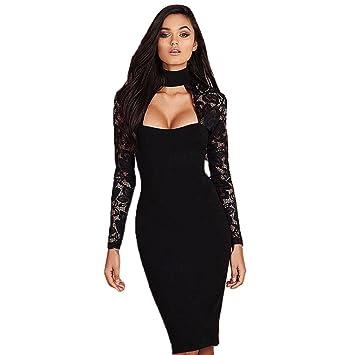 b091c3973251 Women Bodycon Dress,Canserin Women's 2017 Lace Splicing Long Sleeve Choker  Dress