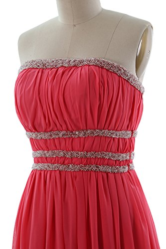 MACloth Women Strapless Chiffon Short Prom Dress Cocktail Party Formal Gown Champagne